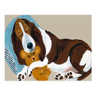 テディと眠ったバセット犬 ポストカード