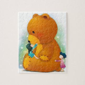 テディのパズルを持つ小さな女の子 ジグソーパズル
