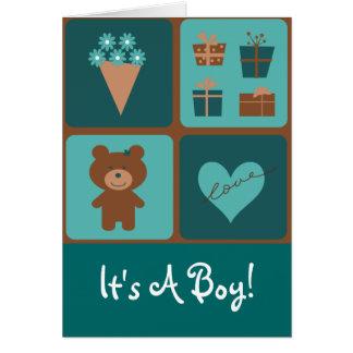 テディー・ベアそれは男の子の発表です カード