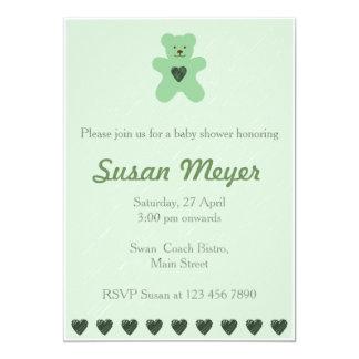 テディー・ベアのハートの緑の赤ん坊の招待状 カード
