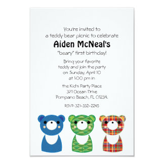 テディー・ベアのピクニック誕生日のパーティの招待状1 カード