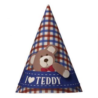 テディー・ベアのピクニック誕生日の-赤くおよび青のギンガム パーティーハット
