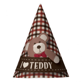 テディー・ベアのピクニック誕生日-ブラウンおよび赤いギンガム パーティーハット