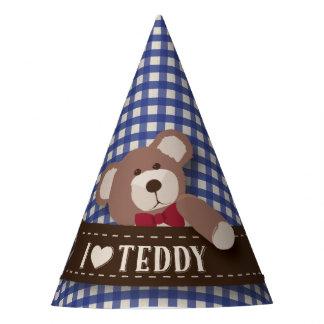 テディー・ベアのピクニック誕生日-青いギンガム パーティーハット