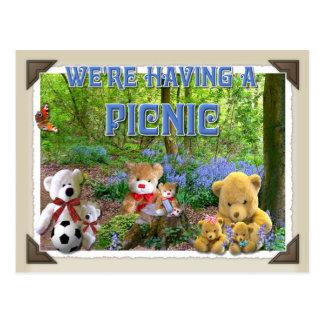 テディー・ベアのピクニック~の招待状の郵便はがき ポストカード