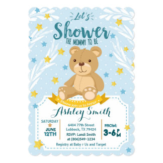 テディー・ベアのベビーシャワーの招待 カード