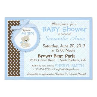 テディー・ベアの男の赤ちゃんのベビーシャワーの青 カード