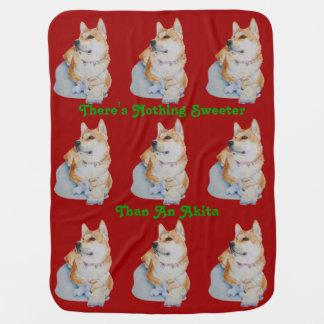 テディー・ベアの芸術のスローガンのデザイン犬が付いているかわいい秋田 ベビー ブランケット