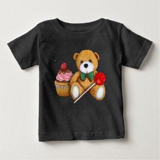 テディー・ベア、カップケーキおよび棒つきキャンデー、イラストレーション ベビーTシャツ
