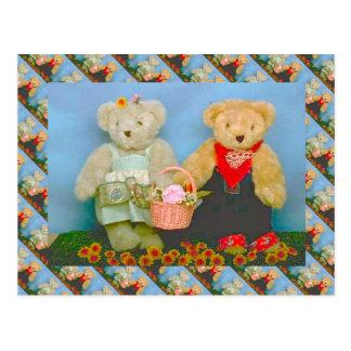 テディー・ベア、bearly園芸カップル ポストカード