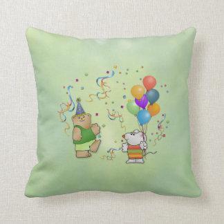 テディー・ベア、Mousie、気球及びグリッターの枕 クッション