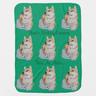 テディ犬のポートレートの芸術のデザインペットが付いているかわいい秋田 ベビー ブランケット