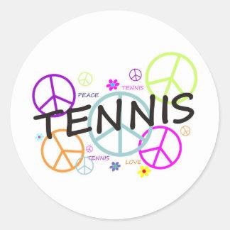 テニスによって着色されるピースサイン 丸形シール・ステッカー