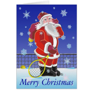テニスのサンタの幸せな休日 カード