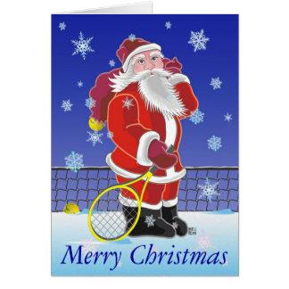 テニスのサンタの幸せな休日 グリーティングカード