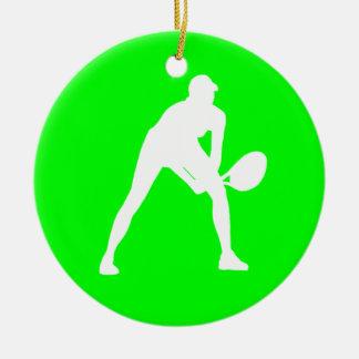 テニスのシルエットのオーナメントの緑 セラミックオーナメント