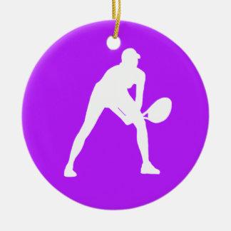 テニスのシルエットのオーナメントw/Nameの紫色 セラミックオーナメント