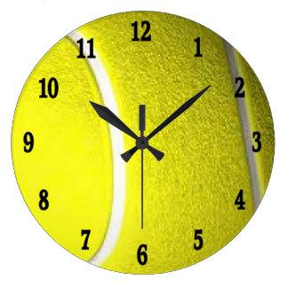 テニスのスポーツの柱時計wの黒い数 ラージ壁時計