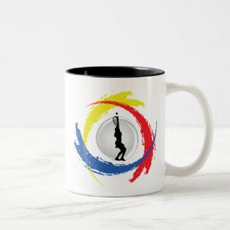 テニスの三色の紋章(女性) ツートーンマグカップ
