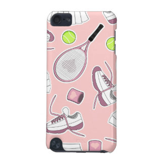 テニスの女の子パターンピンクの背景 iPod TOUCH 5G ケース