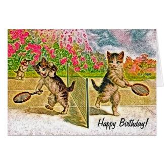 テニスの誕生日を遊ぶ猫ちゃん カード