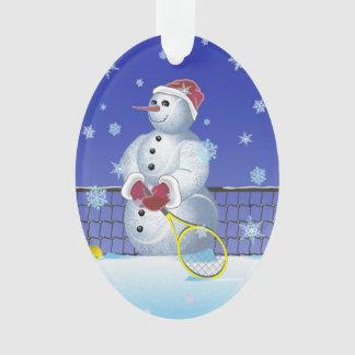 テニスの雪だるま、幸せな休日 オーナメント