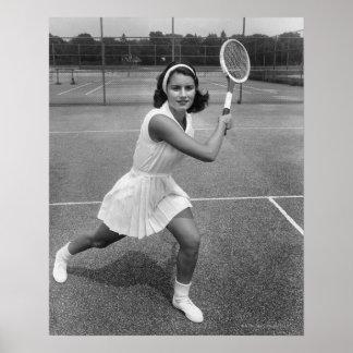 テニスを遊んでいる女性 ポスター