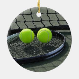 テニスコートラケット及びテニス・ボール セラミックオーナメント