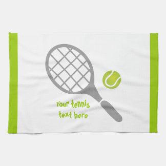テニスラケットおよび球のカスタム キッチンタオル