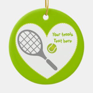 テニスラケットおよび球のカスタム セラミックオーナメント