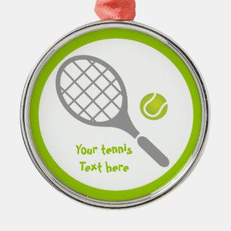 テニスラケットおよび球のカスタム メタルオーナメント
