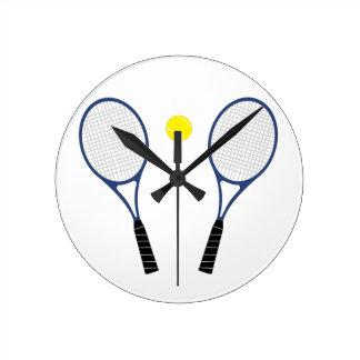 テニスラケットおよび球の柱時計 ラウンド壁時計