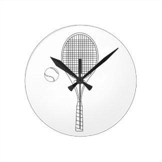 テニスラケットの柱時計 ラウンド壁時計