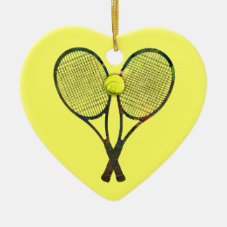 テニスラケット及び球のオーナメント セラミックオーナメント