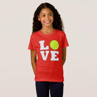 テニス愛女の子のカスタムな色のテニスのTシャツ Tシャツ