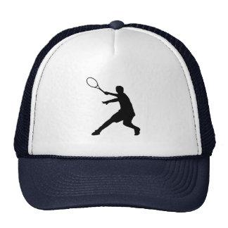 テニス選手のシルエットの記号を用いるテニスの帽子 トラッカー帽子