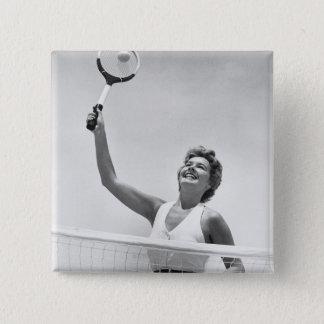 テニス2を遊んでいる女性 5.1CM 正方形バッジ