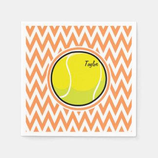 テニス; オレンジおよび白いシェブロン スタンダードカクテルナプキン