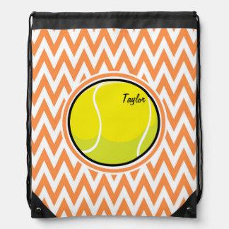 テニス; オレンジおよび白いシェブロン ナップサック