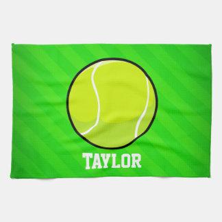テニス; ネオン緑のストライプ ハンドタオル