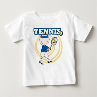 テニス-ブルネットの男の子のTシャツおよびギフト ベビーTシャツ