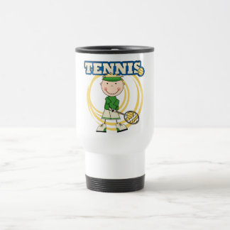 テニス-ブロンドの男の子のTシャツおよびギフト トラベルマグ