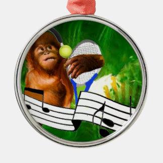 テニス・ボールおよびラケットを持つ猿 メタルオーナメント