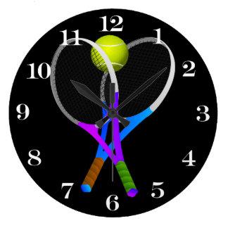 テニス・ボールおよびラケット ラージ壁時計