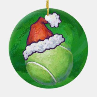 テニス・ボールのクリスマスの緑 セラミックオーナメント