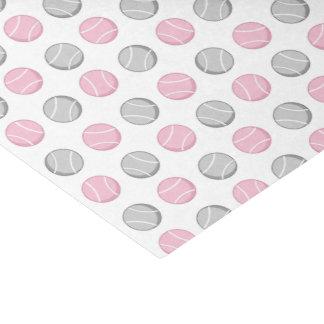 テニス・ボールパターンピンクおよび灰色 薄葉紙