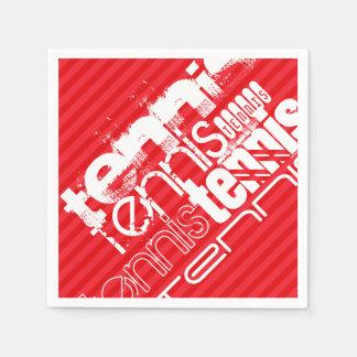 テニス; 深紅の赤のストライプ スタンダードカクテルナプキン