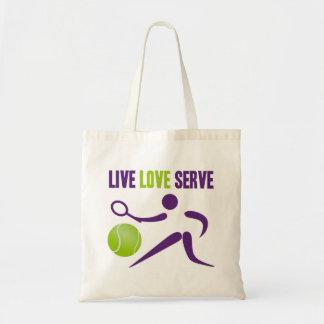 テニス: 生きている。 愛。 サーブ トートバッグ