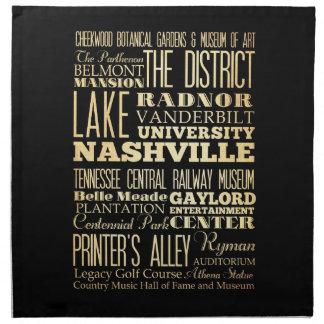テネシー州の州のタイポグラフィの芸術のナッシュビル都市 ナプキンクロス