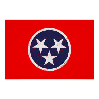 テネシー州の州の旗のグランジなナッシュビル愛 ポスター